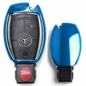Chrome Blue Tpu Key Fob Case For Mercedes C E S M Cla Clk Cls Slk Glk Gla Gl Etc