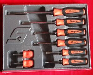 Snap On Sgdx80b Orange Screwdriver Set 8 Pc Combination Soft Instinct Handle New