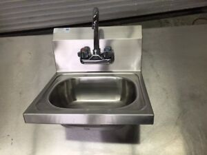 16x15 Wall Mount Hand Sink With Faucet Commercial Stainless Steel Nsf 8359
