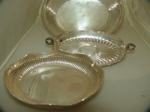 Silvered 3 Various Serving Bowls With Dish English Early 20th Century