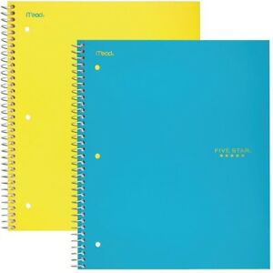 Five Star Spiral Notebooks 5 Subject College Ruled Paper 200 Sheets 11 X 2