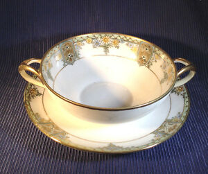 Nippon Noritake Double Handled Bouillon Cup And Saucer Hand Painted Japan