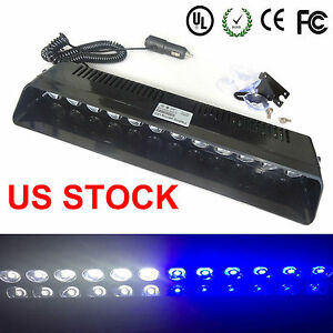12 Led Emergency Warning Flashing Strobe Light Beacon Dash Deck Visor Blue White