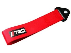 Universal Jdm High Strength Trd Tow Strap Front Or Rear Bumper Towing Hook Red