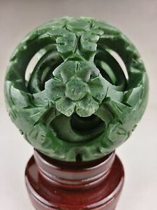 Chinese Old Green Jade Carved Fengshui Dragon Ball Magic With Wood Base