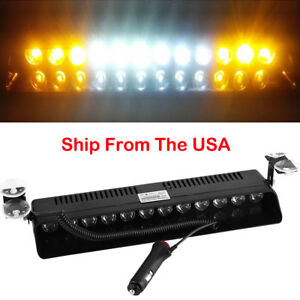 12 Led Emergency Warning Flash Strobe Light Beacon Visor Lamps Amber White Amber