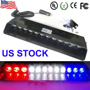 12 Led Emergency Warning Flashing Strobe Light Beacon Dash Lamps Red White B