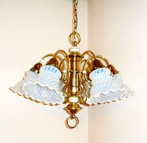 Vintage Art Deco Opaline Opalescent Shade 6 Arm Brass Ceiling Fixture Chandelier