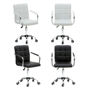 Adjustable Executive Office Mid back Computer Desk Seat Swivel Chair Black white