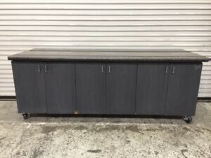 87 Condiment Station 6 Door Wood Cabinet With Granite Top Restaurant Cafe 8391