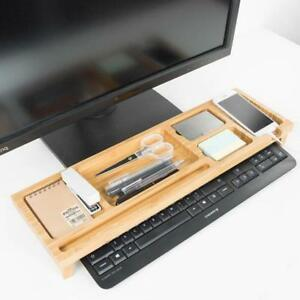 Keyboard Organizer Wooden Desk Holder Computer Stationery Rack Shelf Office Home