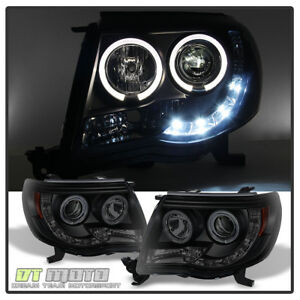 For Black Smoke 2005 2011 Toyota Tacoma Led Drl Projector Headlights Per Runner