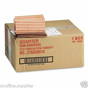 2000 Pop open Flat Kraft Coin Wrappers Sorter Quarter Roll Paper Currency Value