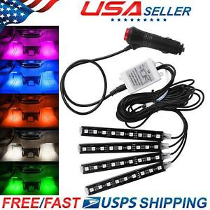 Rgb Colored Led Glow Interior Car Kit Under Dash Foot Floor Seat Accent Light