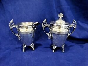 Vintage Silver Plated Creamer Covered Sugar Bowl Engraved