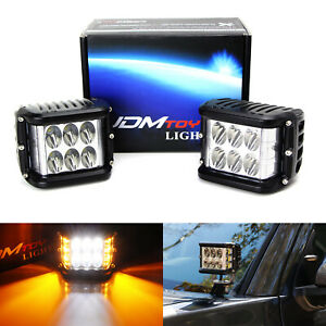 White 30w Led Pod Lights W Amber Side Shine For Truck Suv Jeep Off road Atv 4x4