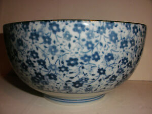 Nice Vintage Chinese Thousands Flowers Blue White Porcelain Bowl Export Signed