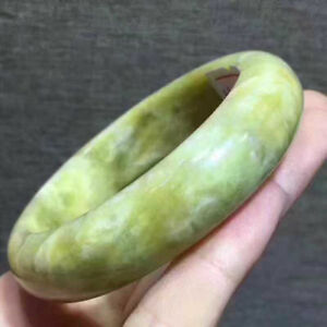 Yellow Green Jade Bangle Chinese Pure Hand Carved Jade Bracelet 60mm