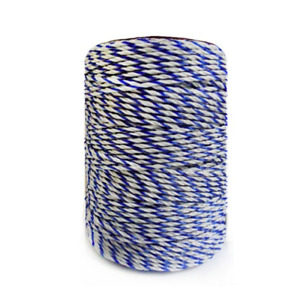 Polywire Electric Fence Rope White Blue Wire Steel Horse Fencing Low Resistance