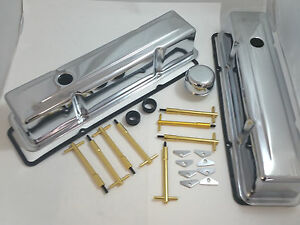 Chrome Sb Chevy Sbc Tall Valve Cover Kit W Gold T bars Gaskets 283 327 350