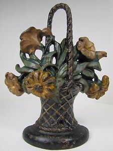 Antique Cast Iron Basket Of Flowers Doorstop Woven Basket With Handle Old Paint