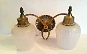 Vintage Lightolier 2 Arm Wall Sconce Solid Brass 1940 S Frosted Ribbed Shades