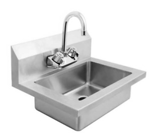 New Hand Wash Sink Wall Mount With Faucet 8435 Commercial Clean Washing Etl nsf