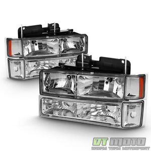 For 94 98 Chevy Clear Pickup Silverado Suburban Tahoe Bumper Headlights Corner