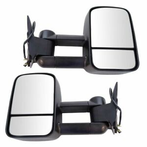 Towing Mirror Power Textured Black Pair Set For Chevy Gmc C K Pickup Truck Suv