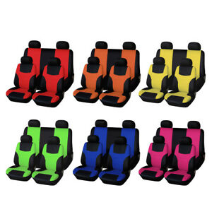 8pcs Set Universal Auto Full Set Car Seat Covers Polyester Front Rear 4 Heads