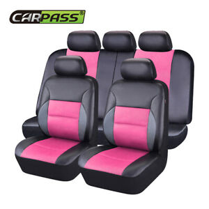 Universal Car Seat Covers Leather Airbag Accessories Pink For Car Suv Truck Van