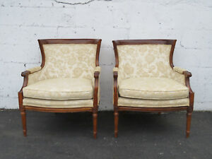Pair Of French Carved Living Room Side Chairs By Moore 8634