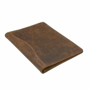 Icarryalls Vintage Crazy Horse Leather Padfolio With 3 ring Binder For A4 And
