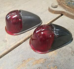 Nos Vintage Pair Truck Cab Marker Red Glass Cats Eye Semi Trailer Harley Rat Rod