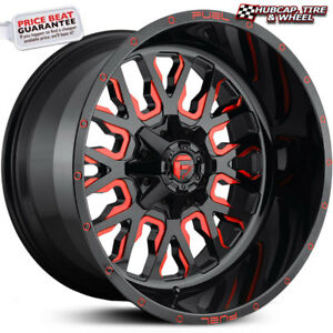Fuel Off road D612 Stroke Gloss Black Red Accents 18 x9 Wheels Rims set Of 4