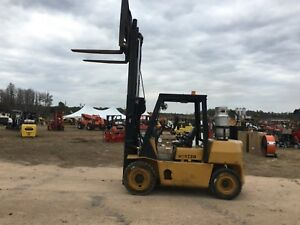 Hyster 7000 Lb Cap Pneumatic Tire Forklift 48 Forks 10 Lift Side Shift hd