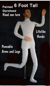Poseable Bendable Display Mannequin Prop Dummy Doll Painted Styrohead D6s180618