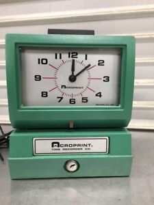 Heavy Duty Manual Print Time Clock Work Hour Recorder Acroprint 125ar3 8440