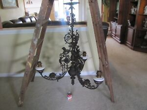 Antique Large Cast Iron Elaborate Gothic 3 Arm Hanging Oil Lamp Chandelier