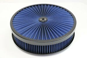 14 X 3 Round Blue High Flow Thru Washable Air Cleaner Flat Base Lid Sbc 350