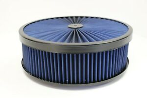 14 X 4 Round Blue High Flow Thru Washable Air Cleaner Flat Base Lid Sbc 350