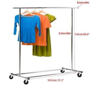 Heavy Duty Commercial Grade Clothing Garment Rolling Rack Steel Silver Hanger