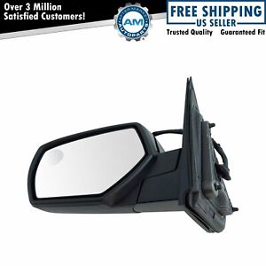 Mirror Power Heated Smooth Black Driver Side Left Lh For Chevy Gmc Pickup Truck