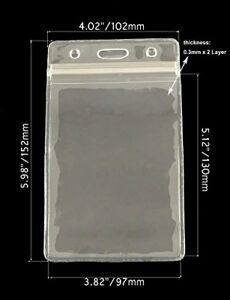 New 100 Pack Clear Plastic Vertical Card Badge Holders Name Tag Holders 4x6 In