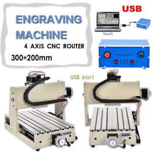 Usb Port 300w 4axis 3020t Cnc Router Engraver engraving Machine Drilling Milling