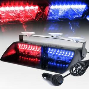 16leds 18 Flashing Modes Car Emergency Flash Dash Strobe Light Red And Blue E0k4