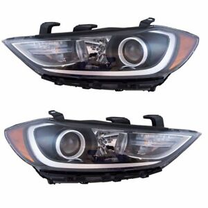 Halogen Headlight Headlamp Assembly W Led Running Lights Lh Rh Pair For Elantra