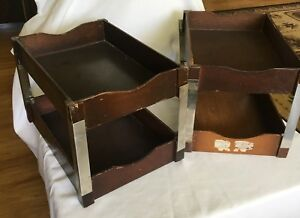Vintage Wooden Letter Tray In out Box Desk Top Organizer With Stacking Supports