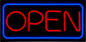 Jumbo Led Open Sign Red Blue 32x16 Very Bright bd32 5 Plus Remote