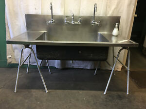 Large Stainless Steel Triple Faucet School Science Lab Sink Industrial Cabinet G